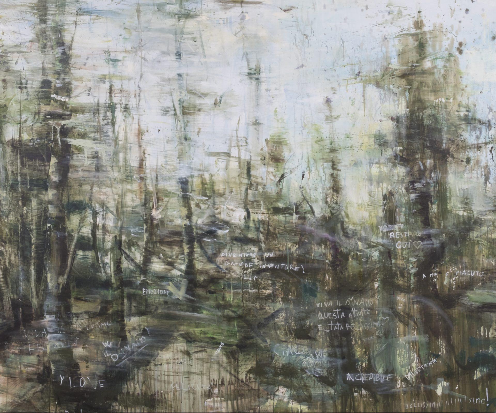 Le voci del bosco<br>APP01<br>misure: 145 x 173 cm<br>tecnica: acrilico e markers su tela<br>anno: 2018<br>