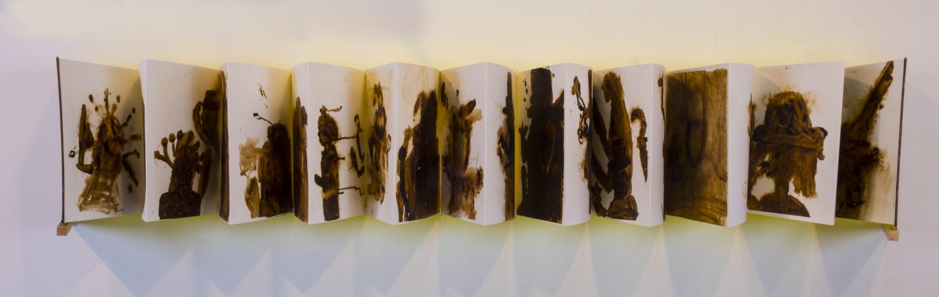 Racconti d'ombra<br>APR03<br>misure: 70 x 100 cm<br>tecnica: colature di estratto di liquirizia su carta bianca <br>anno: 2018<br><br>DISPONIBILE