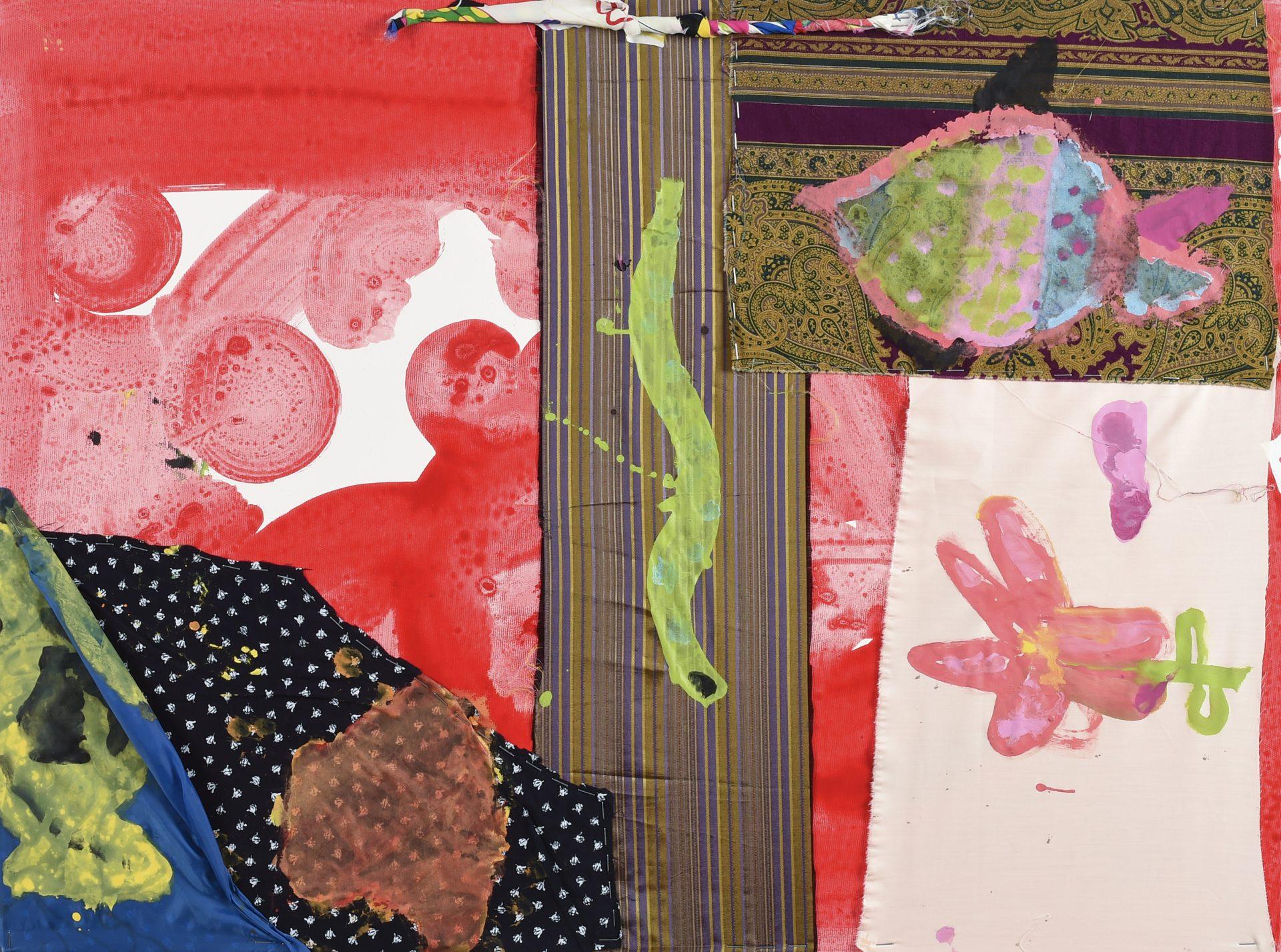 Giocando con i colori<br>CS12<br>misure: 60 x 80 cm<br>tecnica: acrilico e stoffa su tela<br>anno: 2015<br><br>DISPONIBILE