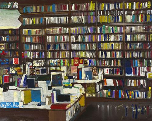 """Librerie collettive<br>MS04<br> misure: 125 x 170 cm <br>tecnica: acrilico su tela<br>anno: 2014<br><br><span style=""""color:red"""">NON DISPONIBILE</span>"""