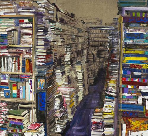 """Librerie collettive<br>MS06<br> misure: 125 x 170 cm <br>tecnica: acrilico su tela<br>anno: 2014<br><br><span style=""""color:red"""">NON DISPONIBILE</span>"""