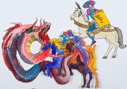 I giorni del dragone<br>VC05<br>misure: 140 x 100 cm<br>tecnica: china su carta<br>anno: 2013<br><br>DISPONIBILE
