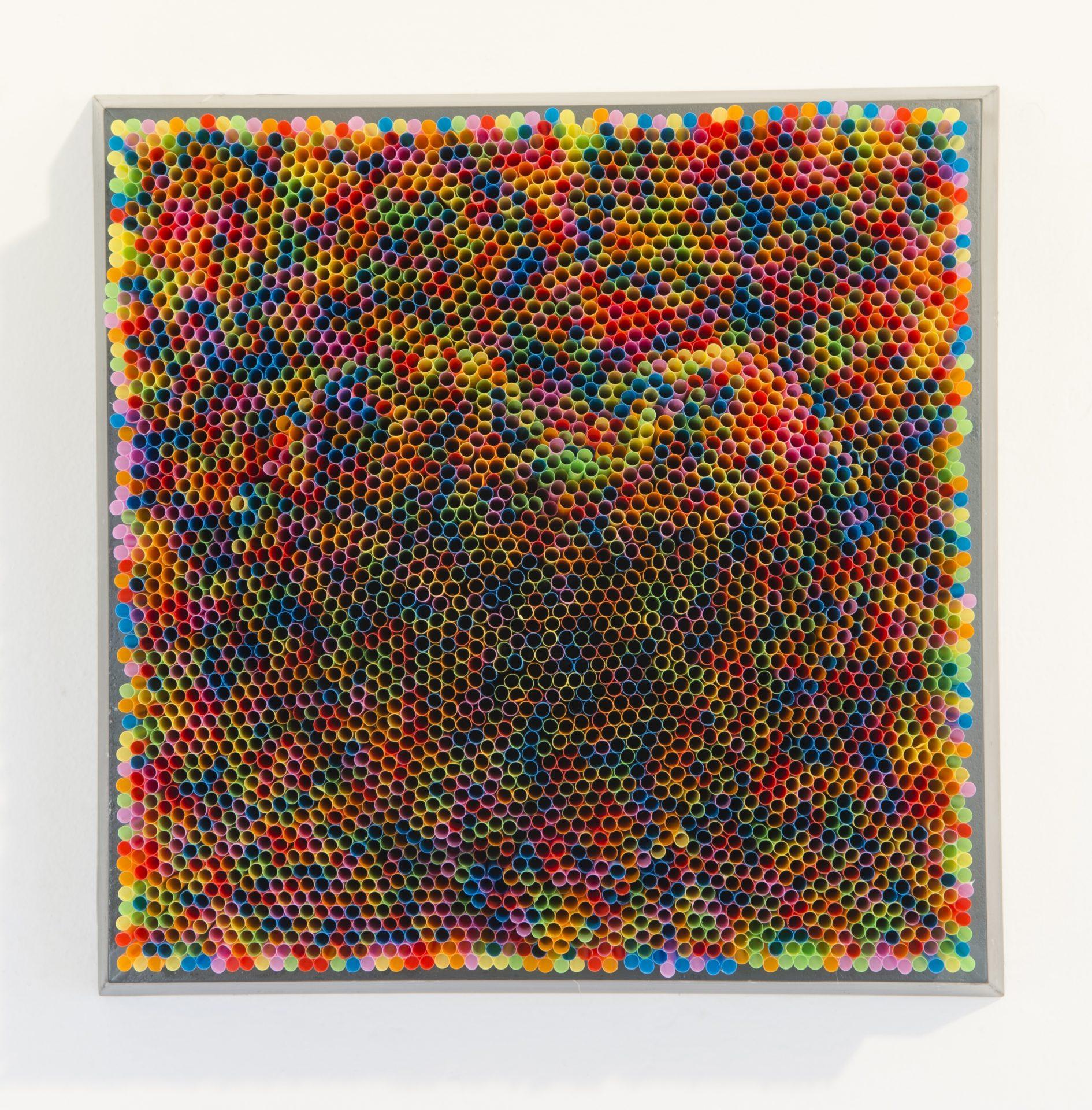 """Straws and Spiderballs<br>FPS22<br>misure: 40 x 40 cm<br>tecnica: cannucce su pannello di legno e cornice<br>anno: 2017<br><br><span style=""""color:red"""">NON DISPONIBILE</span>"""