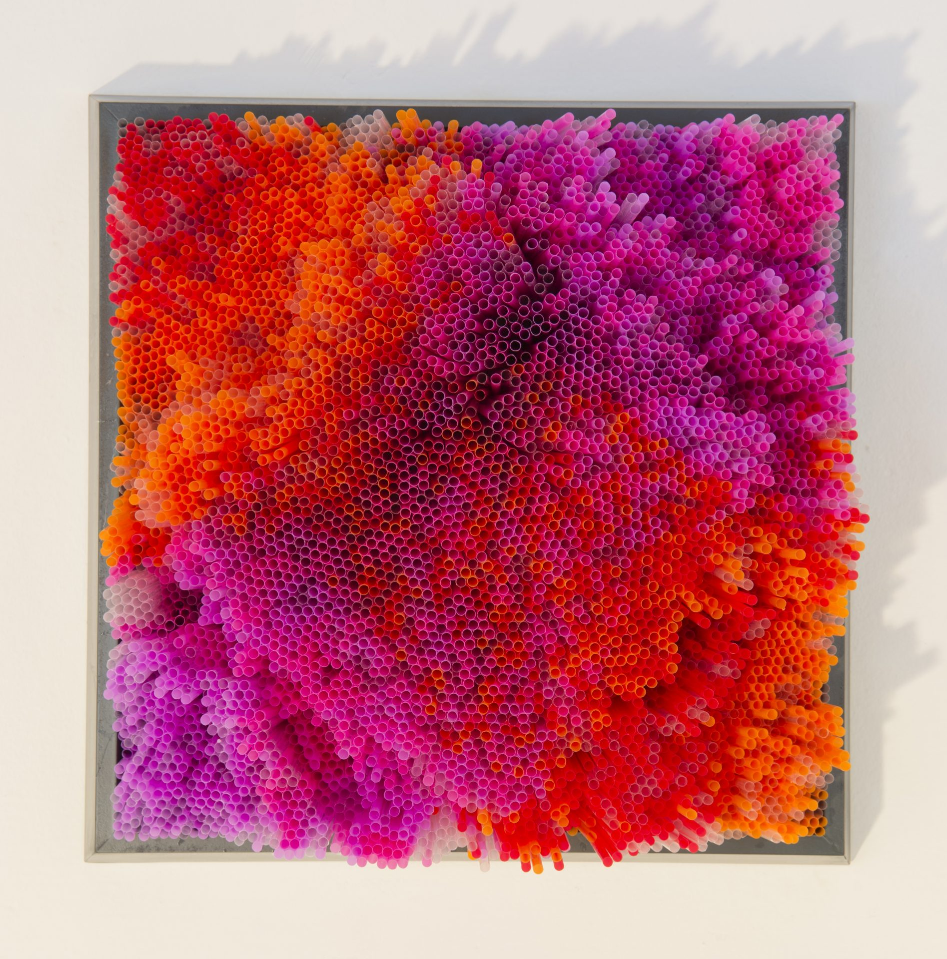 """Straws and Spiderballs<br>FPS23<br>misure: 50 x 50 cm<br>tecnica: cannucce su pannello di legno e cornice<br>anno: 2017<br><br><span style=""""color:red"""">NON DISPONIBILE</span>"""