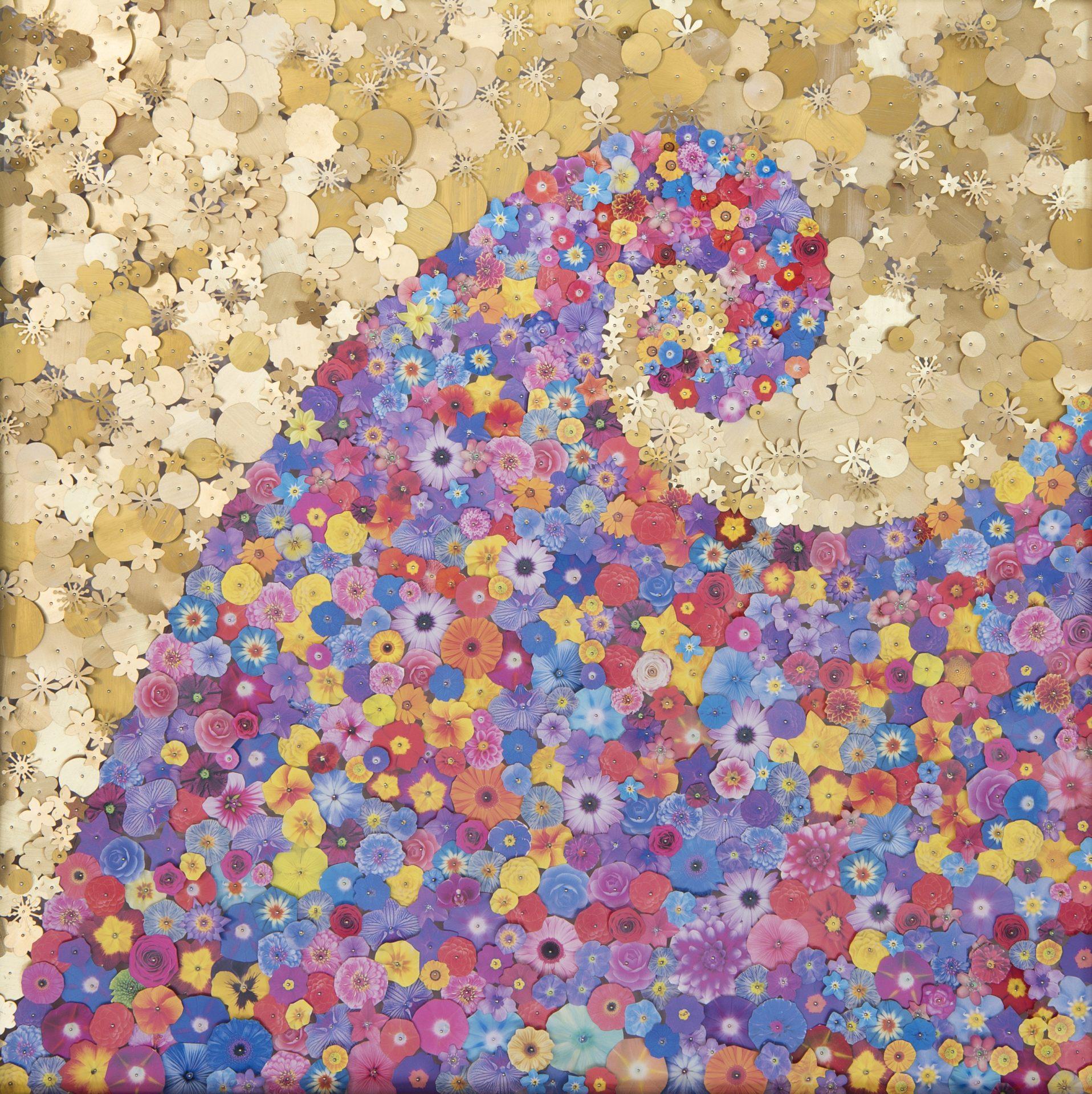Aggregazioni molecolari e piccole storie della natura<br>MLTT01<br>misure: 70 x 70 cm<br>tecnica: tasselli in pvc stampato e dorato su poliplat<br>anno: 2017<br><br>DISPONIBILE