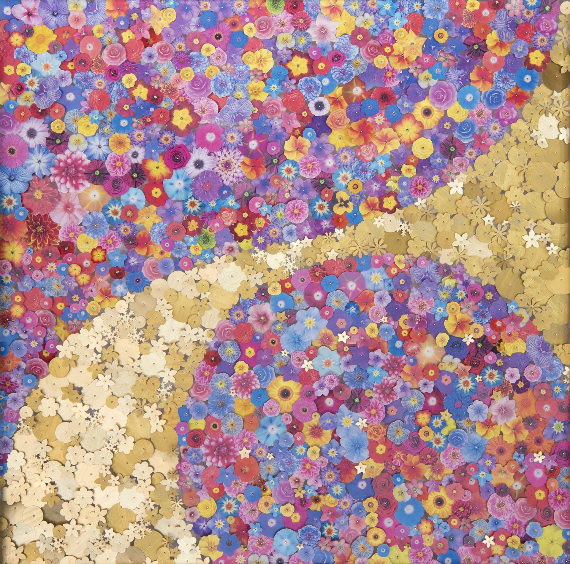 """Aggregazioni molecolari e piccole storie della natura<br>MLTT02<br>misure: 70 x 70 cm<br>tecnica: tasselli in pvc stampato e dorato su poliplat<br>anno: 2017<br><br><span style=""""color:red"""">NON DISPONIBILE</span>"""